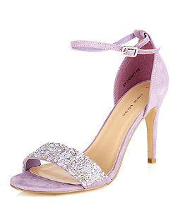 Chaussures lilas ornées de perles, avec talons et bride de cheville | New Look