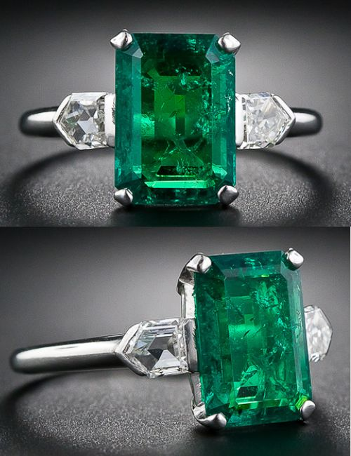 2.77 Carat Emerald and Bullet-Cut Diamond Art Deco Ring. gorgeous, richly saturated, bright and lively green old mine Colombian emerald, weighing 2.77 carats (but presenting about one carat larger due to its spready cut), is classically showcased in platinum between a shimmering pair of bullet-cut diamonds, together weighing one-half carat. A simply stunning Art Deco jewel, circa 1930s. Via Lang Antiques.