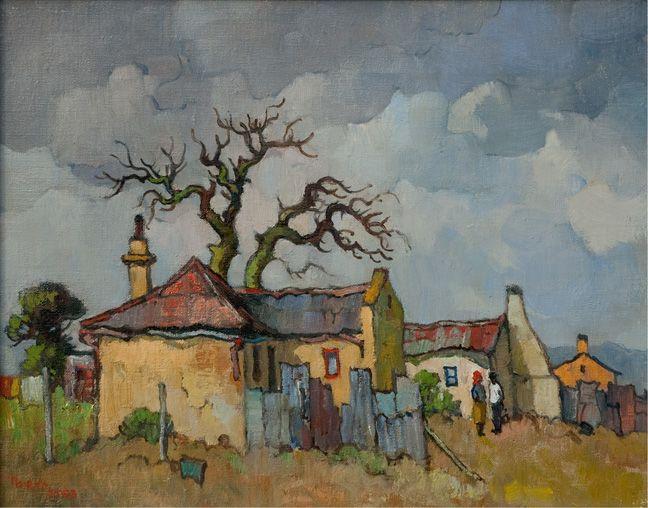 Conrad Theys (b 1940) Geel huisies met kaal bome - 2003 Oil on canvas