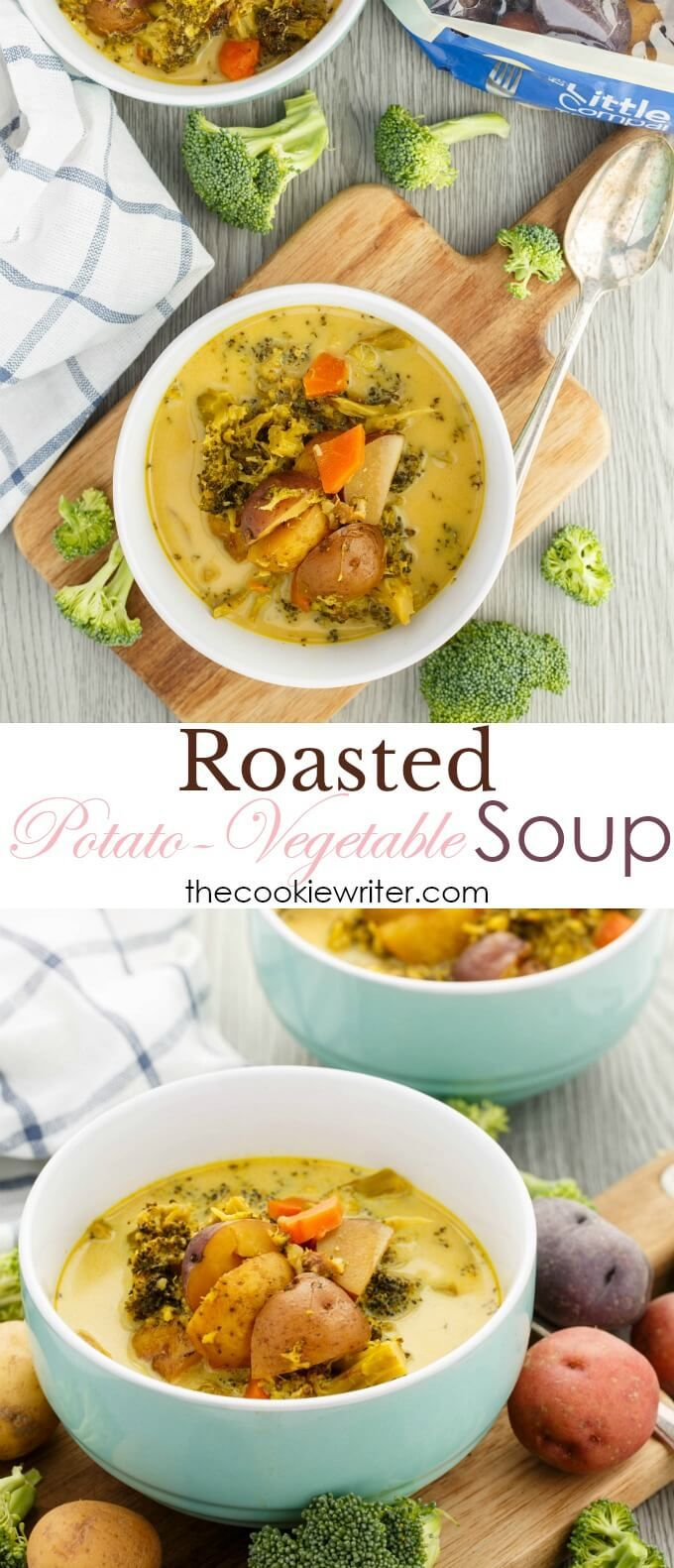 Roasted Potato-Vegetable Soup | #sponsored #soup #vegan #glutenfree #vegetarian #littlepotatoes #comfortfood #healthyfood | An array of delicious veggies like little potatoes and broccoli make this comfort soup come together! While the recipe does call for cream, you can easily omit it to make the recipe vegan! Other non-dairy milks would work perfectly! Simple, almost one pot, and mighty delicious!