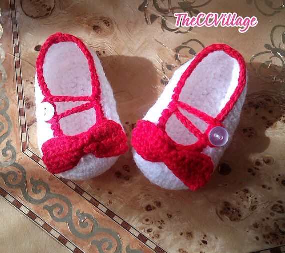 White handmade crochet baby girl shoes with red by TheCCVillage, £6.00