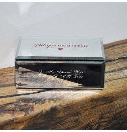 Personalised Love Glass Mirrored Jewellery Box