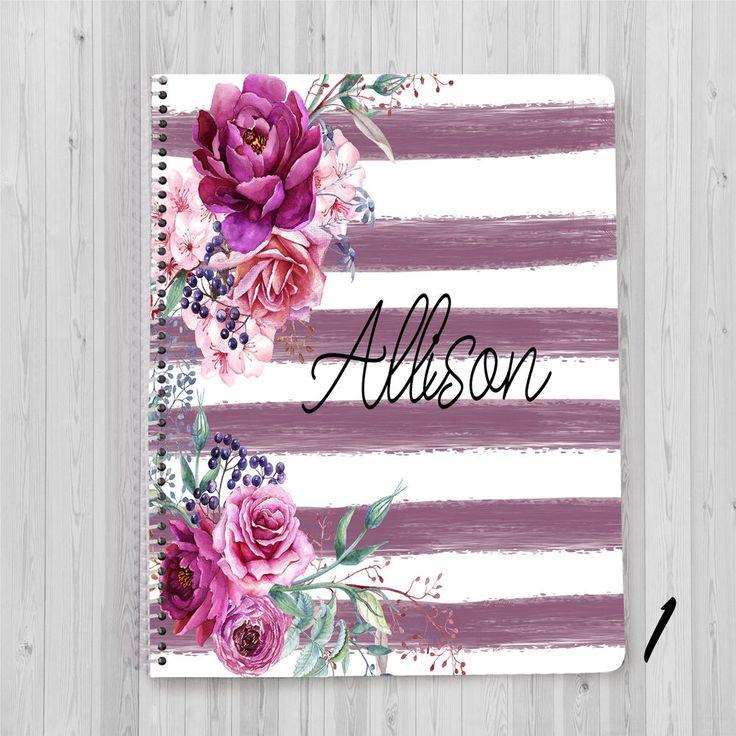 Personalized Notebook, Custom Diary, Custom Journal, Flower Notebook, Spiral Notebook, Personalized Journal, Floral Notebook, Striped book by JolieJomelieDesigns on Etsy https://www.etsy.com/listing/534055236/personalized-notebook-custom-diary