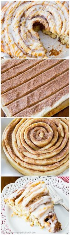I'll take this for my birthday cake this year :)) Giant Cinnamon Roll Cake