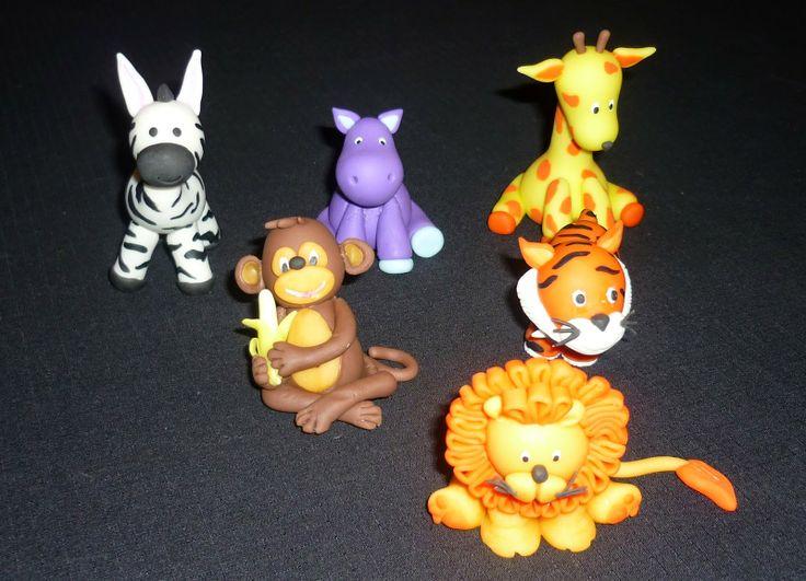 Minimandy. Animalitos de Selva. Adorno para Tortas. Porcelana Fría.