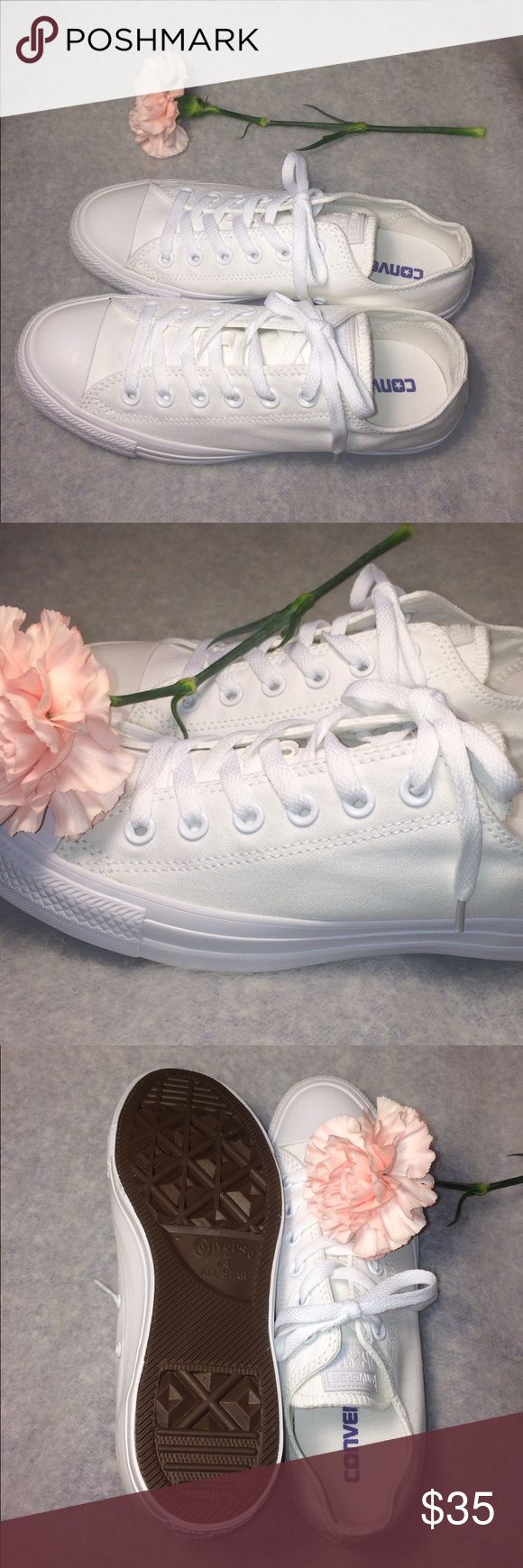 🎉FINAL SALE! CONVERSE SIZE 8 WOMENS WHITE SHOES ✨ All white low top 100% authentic Womens size 8 shoes, in like new condition. Without box. ✨ PRICE IS FIRM! Converse Shoes Sneakers