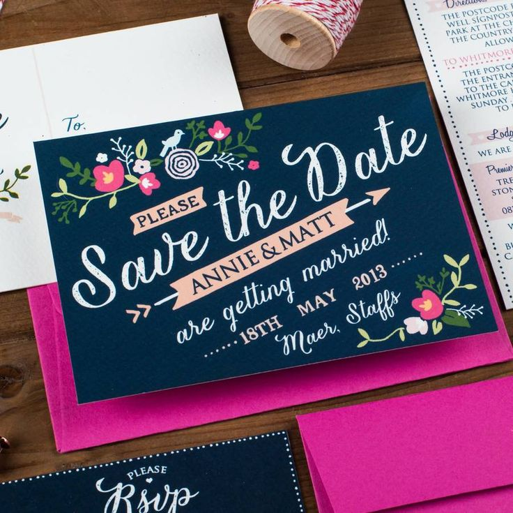 floral save the date card by the charming press | notonthehighstreet.com