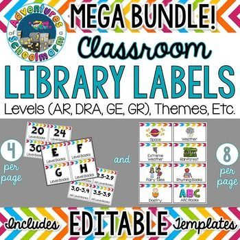 Rainbow Chevron Library Labels  Classroom Library Organization  Themes, Topics, Genres, Authors, IllustratorsOrganize your classroom library by levels (AR, DRA, GE, GR, Lexile), themes, topics, genres, authors, and illustrators with these colorful rainbow chevron labels!