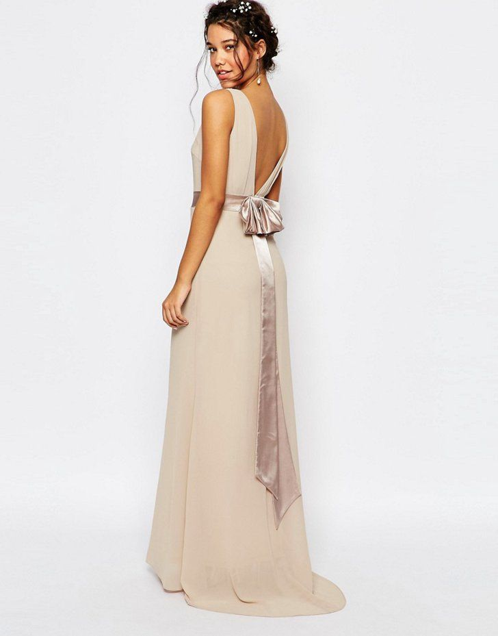 Pin for Later: 50 Gorgeous Bridesmaid Dresses Under £50  TFNC Sateen Bow Back Maxi Dress (£50)