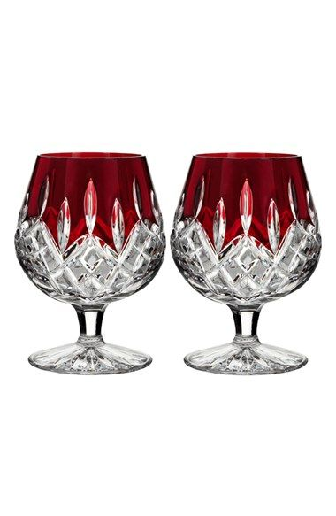 Waterford 'Lismore Red' Lead Crystal Brandy Glasses
