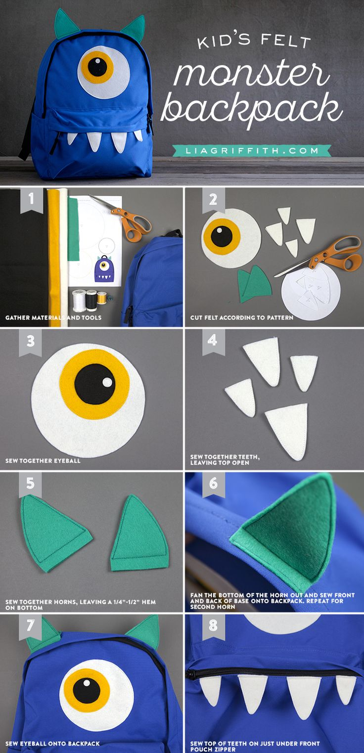 Any kid would be excited to have a personalized backpack as unique as they are. With these simple and clever monster and cat DIY embellishments from Lia Griffith, turn a simple backpack into one that stands out. Click in for the tutorial.