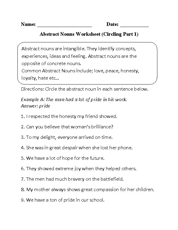 Circling Abstract Nouns Worksheet Part 1 Beginner
