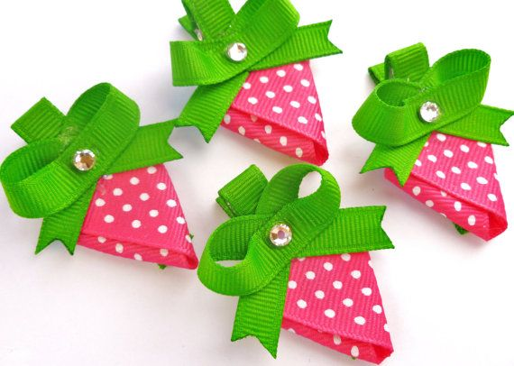 One Strawberry hair bow clip party favors--pink white green hair bows--ribbon sculptures. $3.25, via Etsy.