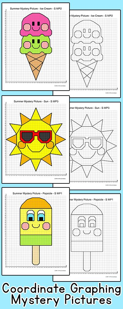 Practice plotting ordered pairs with these fun coordinate graphing Summer theme mystery pictures! An ice cream cone, a sun, a popsicle and flip flops are included. Great for math centers, homework and early finishers. By Pink Cat Studio