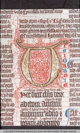 Austria 14th Century Initial U Plain-letter yellow-letter red-ink Illumination | Codex Campililiensis 192 :: HMML Color Microfilms