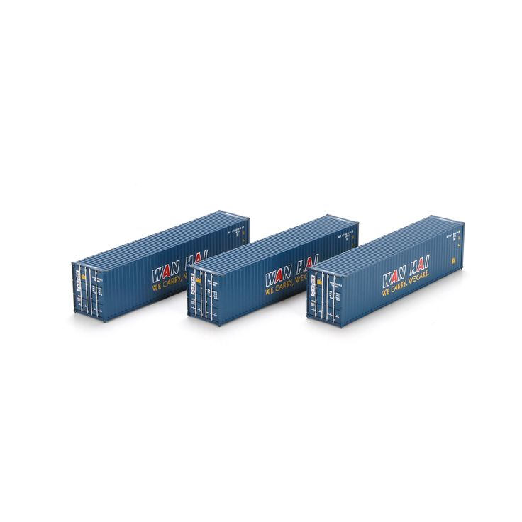 HO Scale: 40' Containers : 3-Pack : WAN HAI