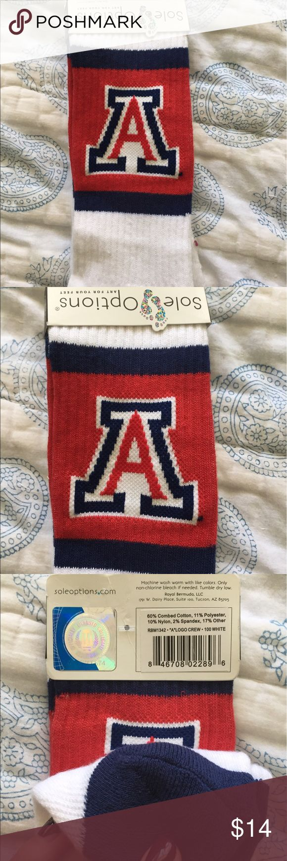 NWT University of Arizona midshin tailgate socks❤️ NWT authentic University of Arizona long socks, they go to mid shin, perfect with shorts and converse for tailgating season!  Bought at campus store with a few other pairs but never used so brand new with tags still on! Accessories Hosiery & Socks