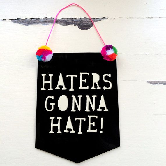 Haters Gonna Hate Acrylic Banner Flag  Texta Font by morganandjane, $25.00