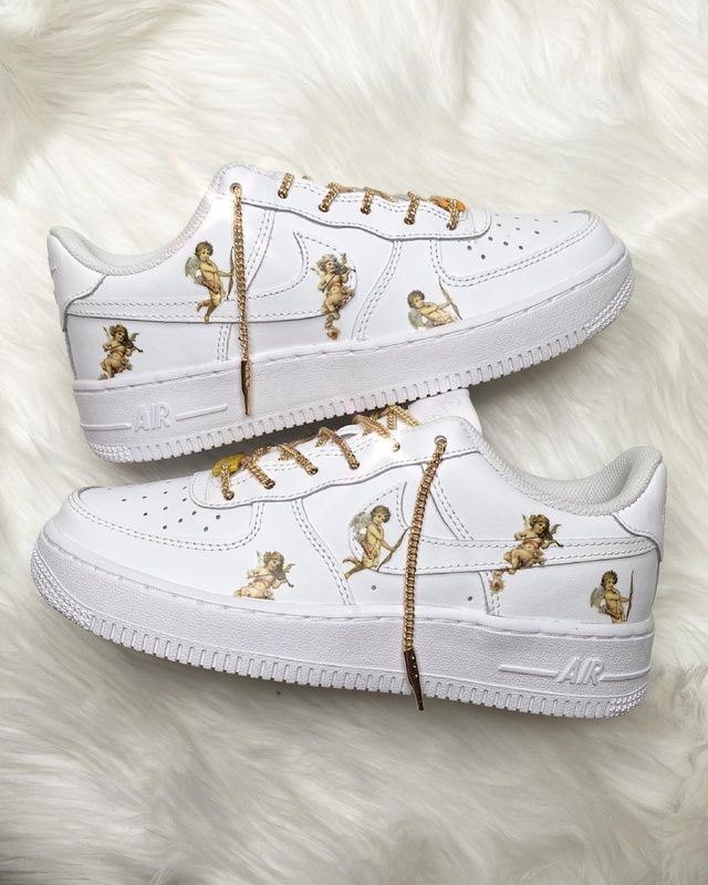 Angel Gold lace Airforce 1 | THE CUSTOM MOVEMENT | Nike air shoes ...