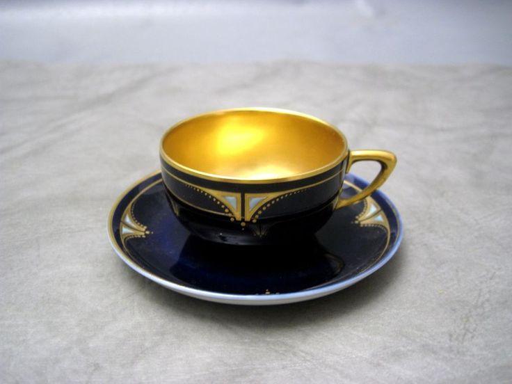 JUGENDSTIL ROSENTHAL MOKKATASSE,KOBALTBLAU MIT GOLD in Antiquitäten & Kunst, Porzellan & Keramik, Porzellan | eBay!