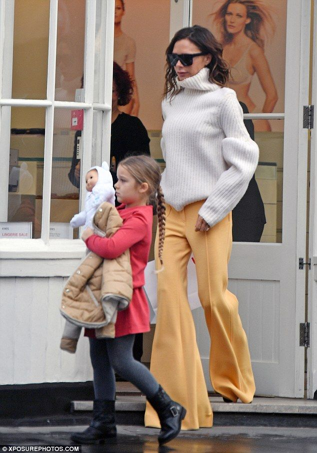 Victoria Beckham Wraps Up In Winter White Polo Neck