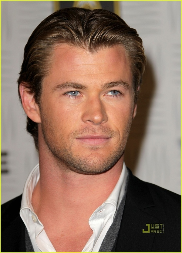 Chris Hemsworth - I see him, I think about my husband Josh. :-) Tall, blonde, blue-eyed, handsome, strong, gorgeous heart-stopping smile,  hilarious, an amazing man. And I guess Chris is too.