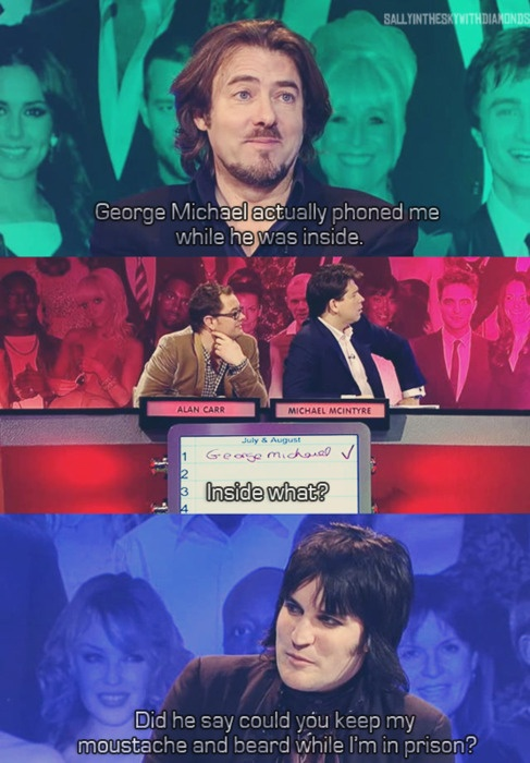 Did he say could you keep my mustache and beard while I'm in prison? xD Jonathan Ross, Alan Carr, Michael Macintyre and Noel Fielding. Big fat quiz.