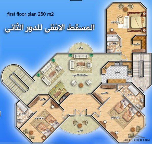 خريطة فيلا بمساحه 250 متر مربع من اعمال المعمارية سمر فؤاد Arab Arch Family House Plans House Plans House Layouts