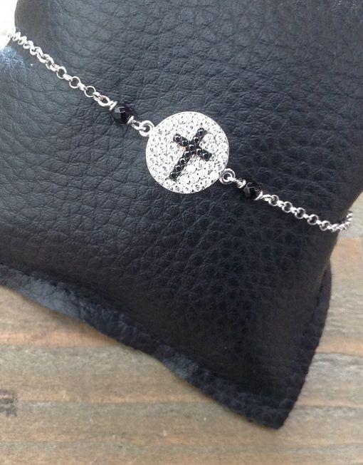 Bracciale in argento con #croce nera