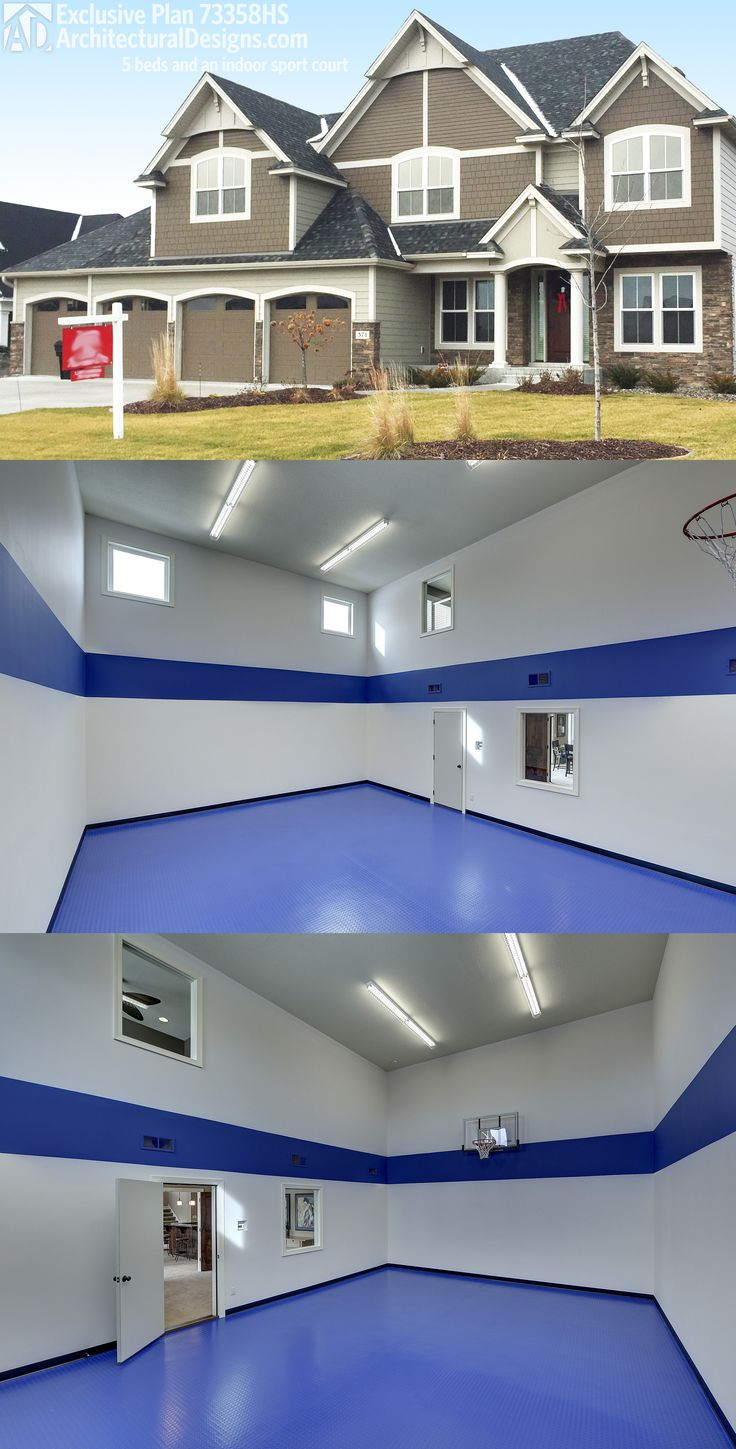 45 best house plans with sport courts images on pinterest for House plans with indoor basketball court