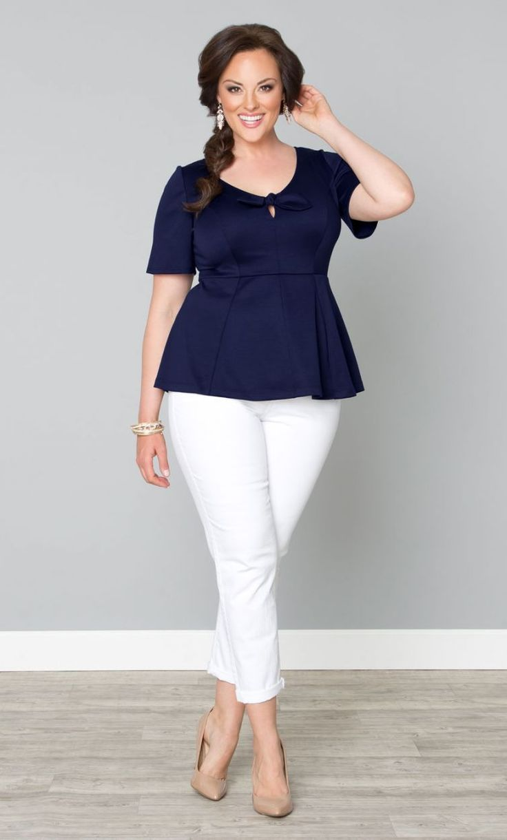 This casual working look is complimentary to a well-proportioned plus sized body.  The peplums camouflages tummy well nude shoes lengthen the leg line.