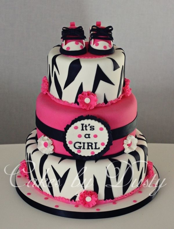 hot pink and zebra baby shower cake