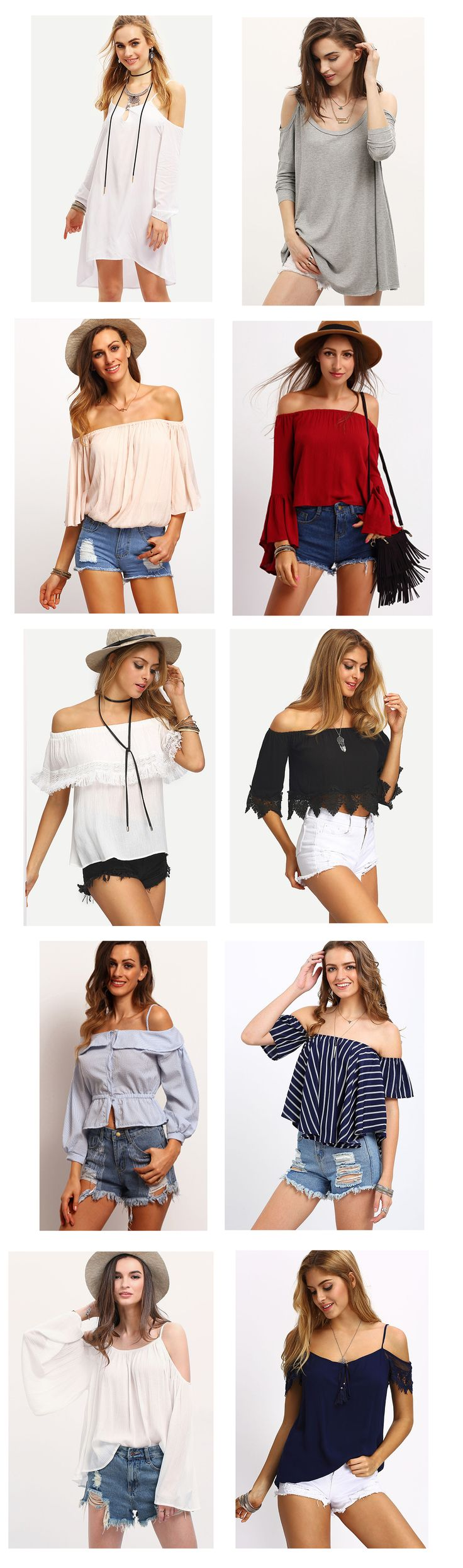 Lol, a big surprise to find these pretty tops! Fashion trendy this summer comes with off he shoulder tops! Cute, chic and fashion design. Love!