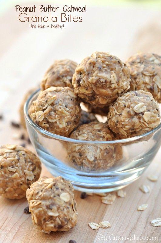 Easy No Bake - Peanut butter oatmeal granola power bites