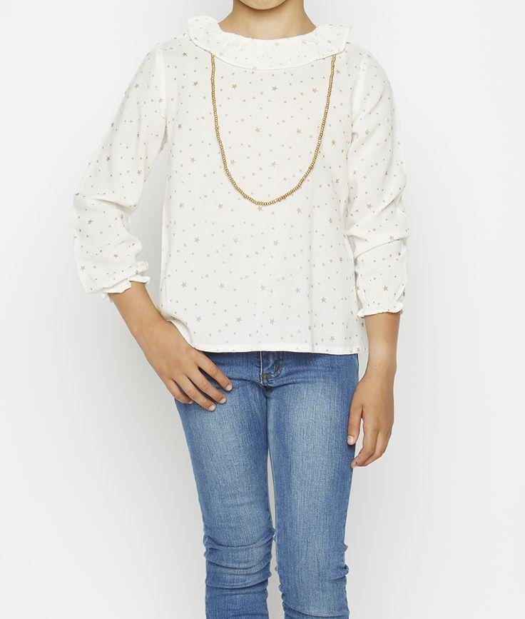 Camisa niña cuello estrellitas doradas 34'90€