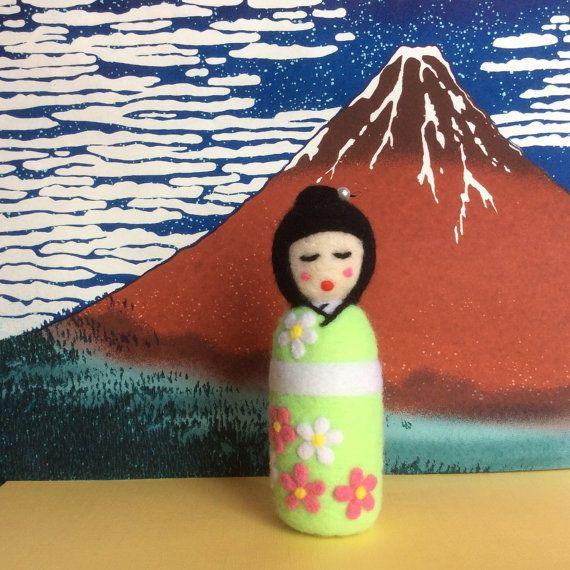 Kiyomi Needle felted Japanese style Kokeshi doll. by SweetPeaDolls