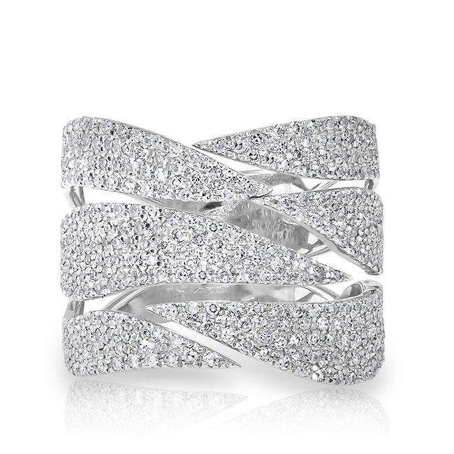 """14KT White Gold Diamond Flame Ring Wide Diamond Ring Ring measures approximately 5/8"""" in height"""