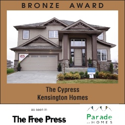 The Cypress - New home builder Kensington Homes wins awards for newly built residential home construction in Winnipeg Manitoba