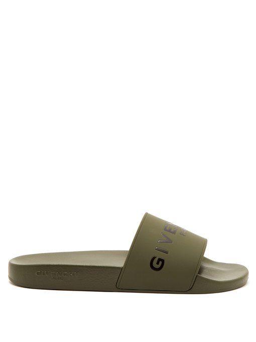 3a1cb8c18a6f GIVENCHY GIVENCHY - RUBBER SLIDES - MENS - KHAKI.  givenchy  shoes Khaki  Green