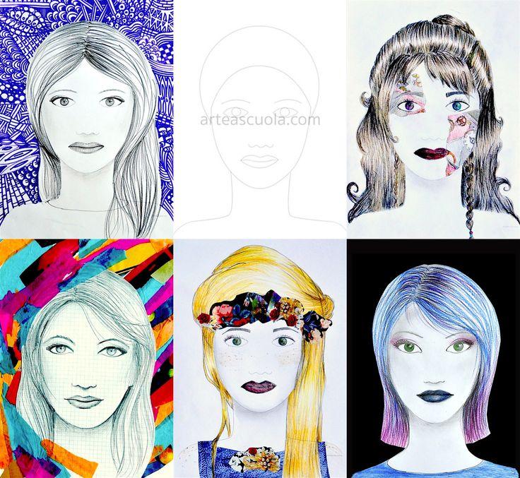 da www.arteascuola.com un foglio di lavoro con le linee principali di un volto con le corrette proporzioni, da completare con il disegno di occhi, bocca, capelli. I particolari dell'acconciatura, del make up, dei colori e dello sfondo sono tutti da inventare, per creare e interpretare la figura seco