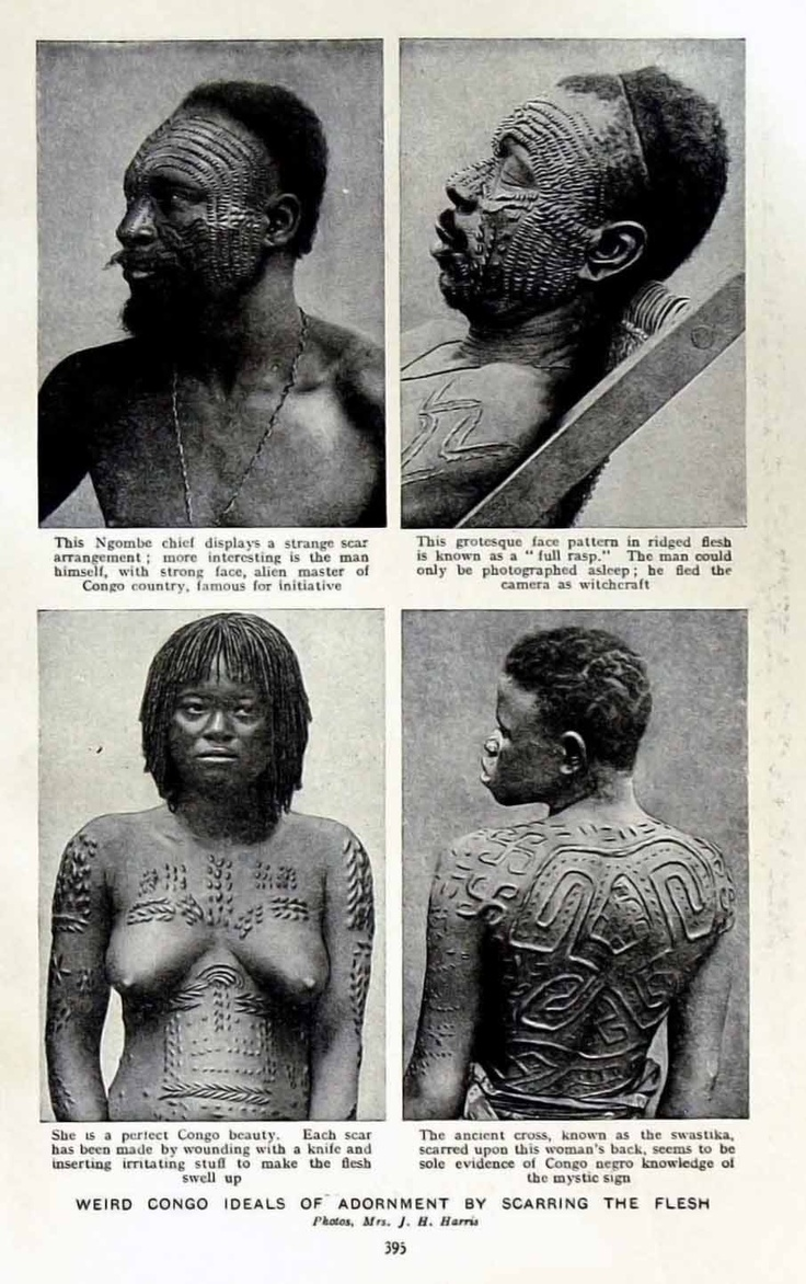 "Africa | ""Weird Congo Ideals of Adornment by Scarring the Flesh"".  Belgian Congo. ca. 1920 Photo J H Harris 