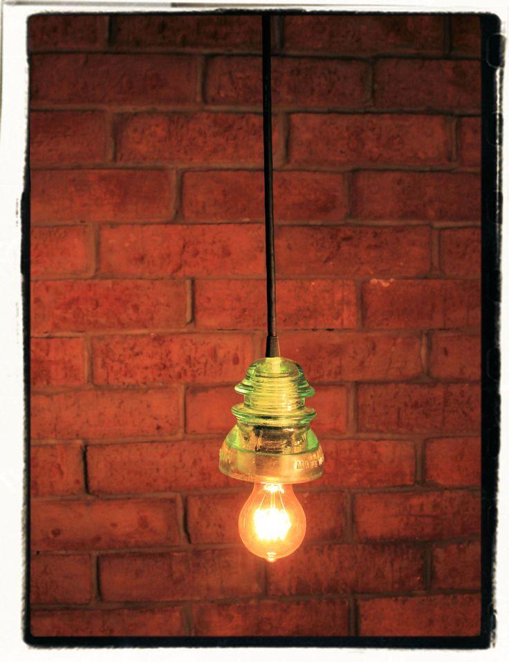 Vintage glass insulator pendant light aqua blue glass for Antique insulator pendant lights