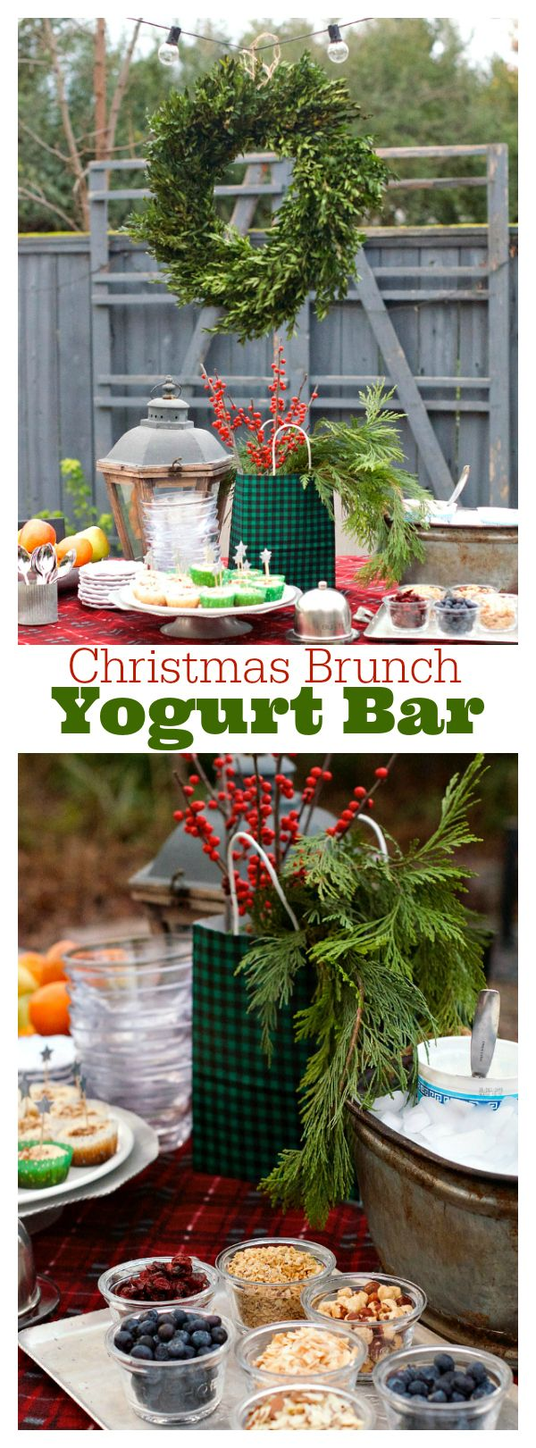 Party details with Christmas Brunch Yogurt Bar ingredients, to share with friends and family, and enjoy the holidays for breakfast or brunch.