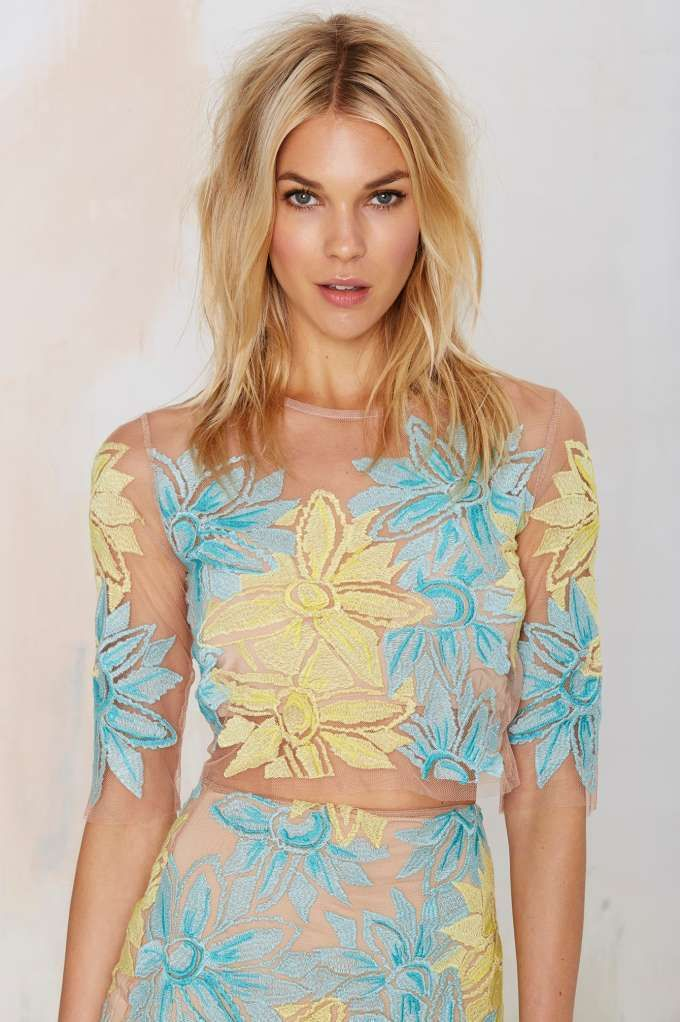 Nasty Gal x For Love & Lemons Wild Flower Embroidered Crop Top