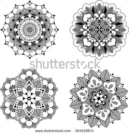 Set of four black mandala for design or mendie