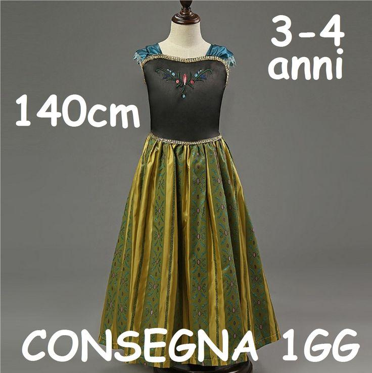 Maschera Carnevale Vestito Costume principessa Anna regno di ghiaccio Frozen taglia 3 4 5 6 7 8 anni Bambina