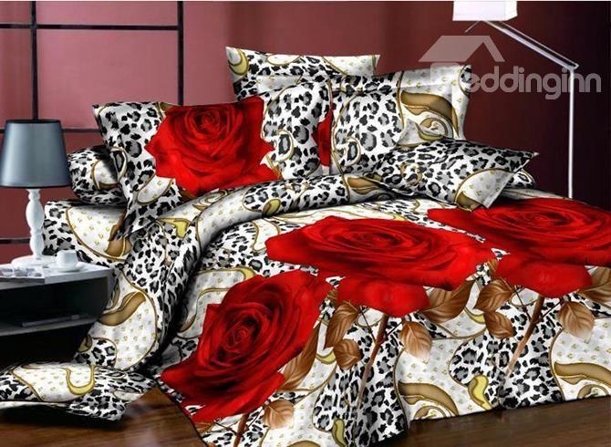 Popular 3D Flower Red Rose 4-Piece Polyester Duvet Cover Sets from Beddinginn.com!