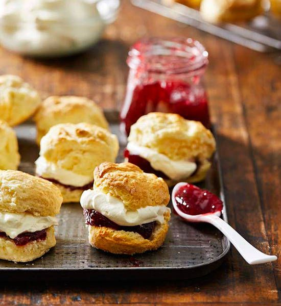 The great richness is from the cream and milk in the dough. But there's still the age-old debate: spread jam or cream first?