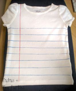How to make a notebook / lined paper t-shirt for #backtoschool or end of the year. Use a sharpie for classmates or teachers to sign on the last day of school.