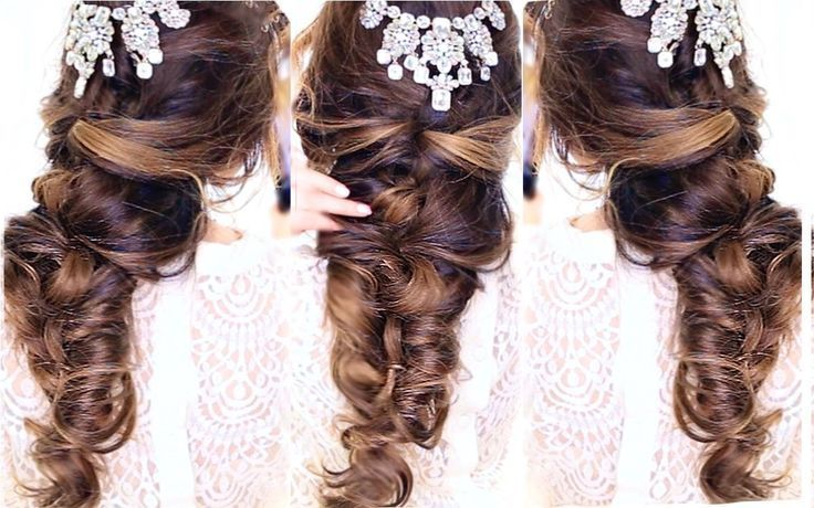Wedding Prom or Homecoming Hair tutorial: how to do an easy crisscross curly hairstyle for long or medium length hair. Here's an elegant formal #hair